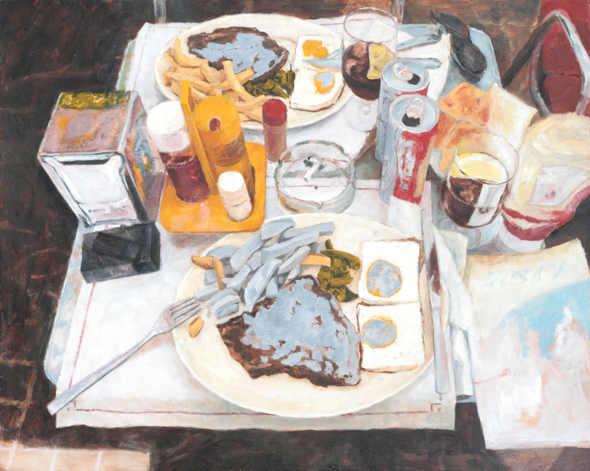 登場人物Aの心 「バルセロナの昼食 パラソルの下で」-The heart of Character A 「Lunch in Barcelona - Under a parasol」/0.73×0.91m /Oil on canvas/2014